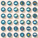 Wheather ikony ustalony płaski śnieg, deszcz, słońce, chmura, samochód, ludzie Obrazy Stock