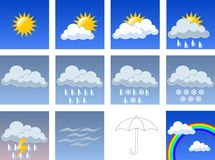 Wheather symbols. A set of different wheather symbols Stock Images