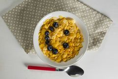 Wheaties cereal and blueberry in bowl with table cloth and spoon Royalty Free Stock Photos
