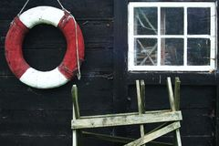 Wheel. An old house from Gotland, Sweden, closeup royalty free stock photography