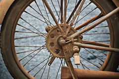 Wheel. A closeup of a wheel from a vintage motorcycle Stock Photography