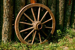 Wheel. Antique wagon wheel made of wood Royalty Free Stock Image