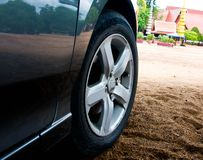 Wheel. A closeup of the wheel of a performance car Royalty Free Stock Photos