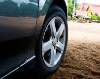 Wheel. A closeup of the wheel of a performance car royalty free stock photos