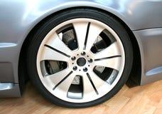 Wheel. Alloy wheel on a tuned car royalty free stock photo