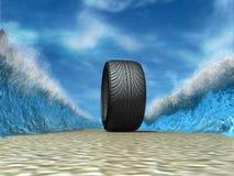 Wheel. Parting water before a motor-car wheel vector illustration