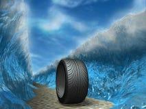 Wheel. Parting water before a motor-car wheel royalty free illustration