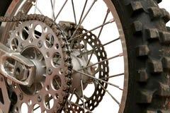 Wheel. Close up on back motorcycle wheel. Byke Stock Photos