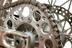 Wheel. Close up on back motorcycle wheel. Byke Stock Image