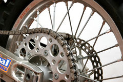 Wheel. Close up on back motorcycle wheel. Byke Royalty Free Stock Images