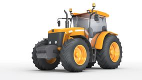 Wheel agricultural tracktor isolated on white background. Front. Orange wheel harvesting tracktor isolated on white background. Front side view. Perspective Royalty Free Stock Images