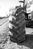 Wheel of an agricultural tractor, detail. Black and white image Stock Photo