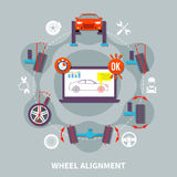 Wheel Alignment Flat Design Concept. With icons of car in auto service computer tools for balance diagnostics vector illustration Royalty Free Stock Photography