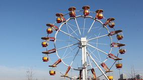 Wheel in amusement park stock video