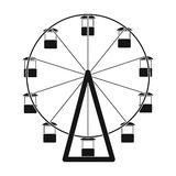 The wheel is in the amusement park. Slow attraction to explore the city.Amusement park single icon in black style vector. Symbol stock web illustration Royalty Free Stock Photo