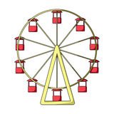 The wheel is in the amusement park. Slow attraction to explore the city.Amusement park single icon in cartoon style. Vector symbol stock web illustration Royalty Free Stock Image