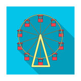 The wheel is in the amusement park. Slow attraction to explore the city.Amusement park single icon in flat style vector Stock Photo