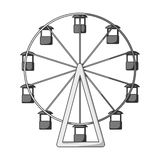 The wheel is in the amusement park. Slow attraction to explore the city.Amusement park single icon in monochrome style. Vector symbol stock web illustration Royalty Free Stock Photography