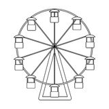 The wheel is in the amusement park. Slow attraction to explore the city.Amusement park single icon in outline style. Vector symbol stock web illustration Royalty Free Stock Images
