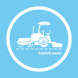 Wheel asphalt paver. Silhouette of wheel asphalt paver on blue background Stock Photography