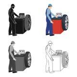 Wheel balancer single icon in cartoon,outline,black style for design.Car maintenance station vector symbol stock. Illustration Royalty Free Stock Image