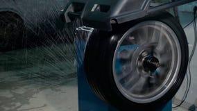 Wheel balancing close up. stock photography