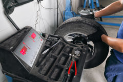 Wheel balancing. Mechanic removes car tire closeup. Machine for removing rubber from the  disc Stock Image