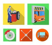 Wheel balancing, spanner and brake disc flat icons in set collection for design.Car maintenance station vector symbol Stock Photos
