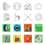 Wheel balancing, spanner and brake disc outline,flet icons in set collection for design.Car maintenance station vector. Symbol stock illustration Stock Photography