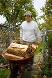 Wheel Barrel Full Of Firewood. Workman Pushing Wheel Barrel Full Of Firewood Stock Photo