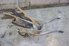 Wheel barrel with the tool Royalty Free Stock Image