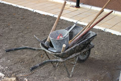 Wheel barrel with the tool 2 Royalty Free Stock Photography
