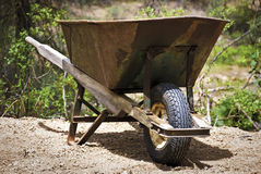 Wheel Barrow. Parked and ready for use royalty free stock photo