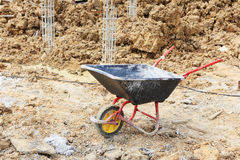 Wheel barrow in construction Royalty Free Stock Photography
