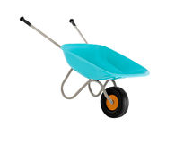 Wheel barrow, empty concrete trolley Stock Images