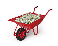 Wheel barrow full of dollars isolated on white background Royalty Free Stock Photo