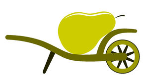Wheel barrow and pear Stock Photos