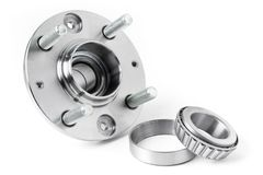 Wheel and wheel bearing on white background. Auto parts.  stock photo
