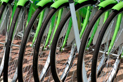 Wheel of bicycle in line Stock Images