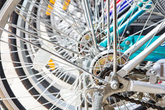 Wheel of bikes Stock Photo