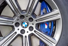 Wheel of BMW car stock photos