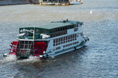 Wheel boat on the Moscow River. June 2015 Royalty Free Stock Image