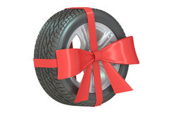 Wheel with bow and ribbon, 3D rendering Stock Photography