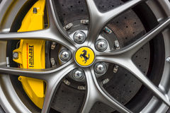 Wheel and brake system of sports car Ferrari F12berlinetta Stock Image
