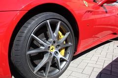 Wheel and brake system of sports car Ferrari Royalty Free Stock Images