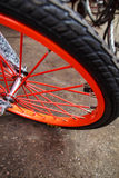 Wheel   bright colors bike. Royalty Free Stock Photo