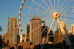 Wheel of Brisbane. The Wheel of Brisbane is a 60-metre-tall transportable Ferris wheel installation erected as part of the 20th anniversary of World Expo 88 royalty free stock image