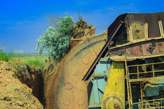 Wheel of bucket wheel excavator. Royalty Free Stock Image
