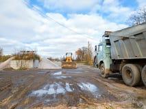 Wheel bulldozer with rotary u-blade, heavy truck Stock Photography