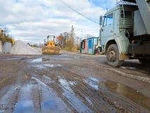 Wheel bulldozer with rotary u-blade, heavy truck Royalty Free Stock Photos